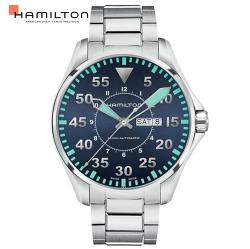 Hamilton 漢米爾頓 卡其飛行先鋒80小時機械腕錶 H64715145 銀/46mm