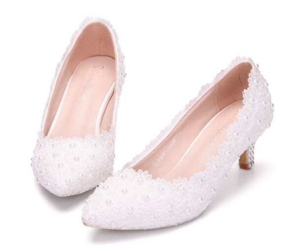 Pyf♥珍珠蕾絲婚鞋高跟新娘鞋婚紗鞋甜美伴娘鞋宴會鞋43大尺碼女鞋