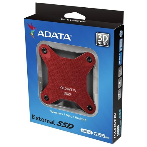 ADATA Durable SD600 3D NAND USB 3.1 External SSD 256GB Red (ASD600-256GU31-CRD) 2