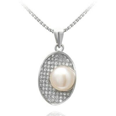 925純銀項鍊 珍珠吊墜~精美鑲鑽簡約百搭七夕情人節 女飾品73dh37~ ~~米蘭 ~