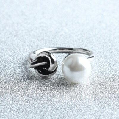 925純銀戒指珍珠開口戒~ 百搭 情人節生日 女飾品73gp4~ ~~米蘭 ~