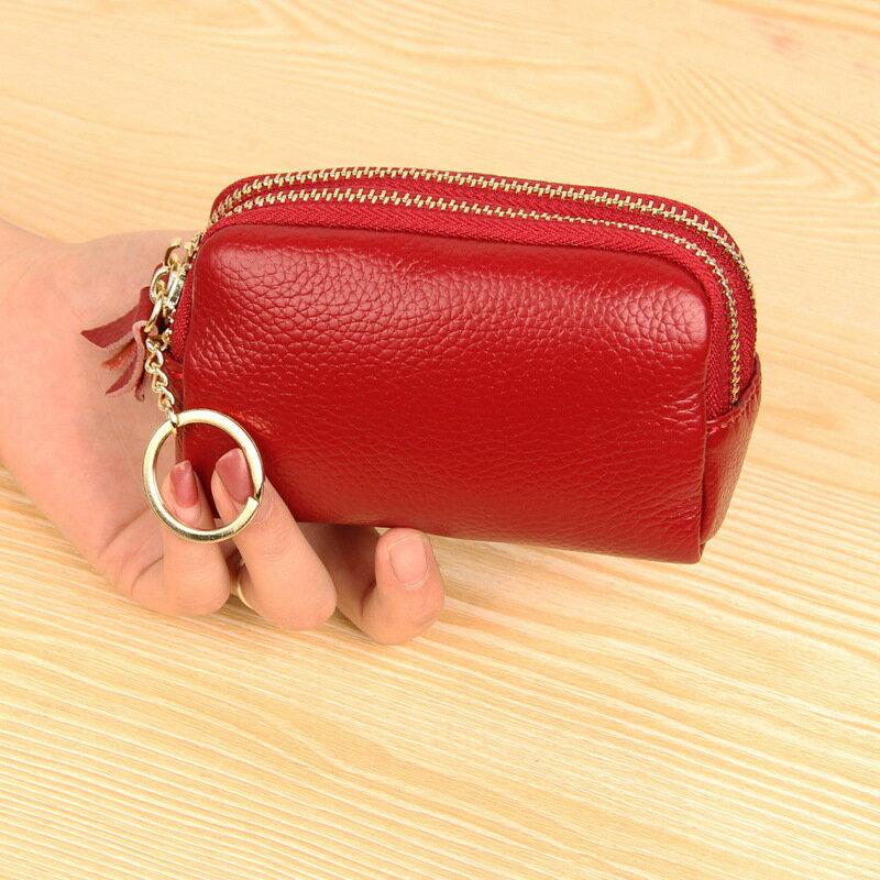 零錢包真皮手拿包-純色簡約雙拉鍊牛皮女包包5色73wz24【獨家進口】【米蘭精品】 2