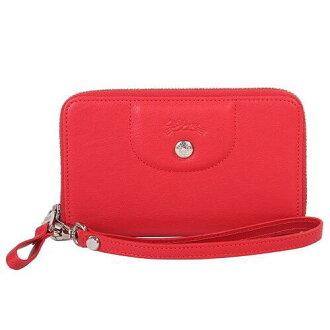 【LONGCHAMP】 Le Pliage Cuir系列小羊皮手拿/零錢包(紅)