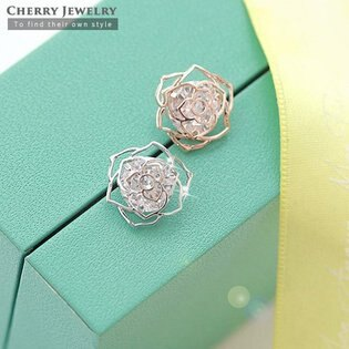 玫瑰花鋯石耳環10231【櫻桃飾品】【10231】