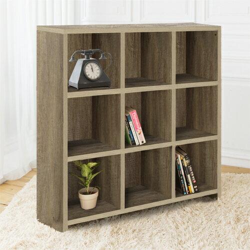 【尚優家居】DIY維亞九格櫃展示櫃書櫃收納櫃隔間櫃(深橡色)