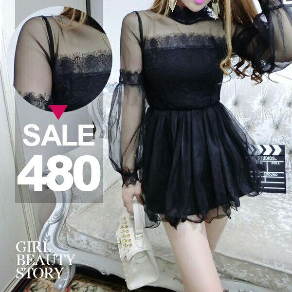 SISI【D8024】甜美小公主立領透視網紗拼接長袖燈籠袖木耳邊蓬蓬裙連身裙洋裝