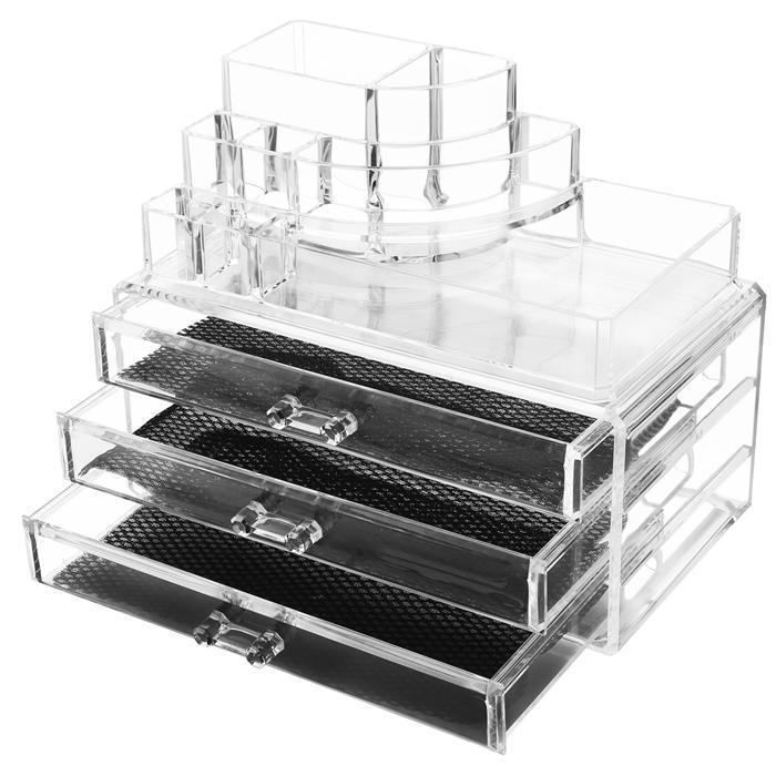Acrylic Desktop Cosmetic 3 Drawers Grids Multi Tiers Display Storage 2