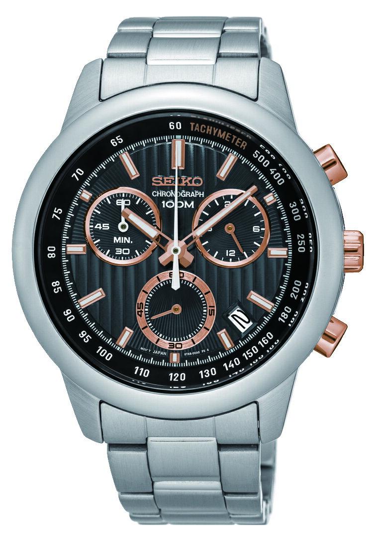 清水鐘錶 SEIKO 精工 CS系列 突擊隊計時碼錶-黑x玫塊金 8T68-00A0P(SSB215P1) 42mm
