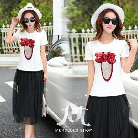 梅西蒂絲Mercedes Shop:《早秋新品5折》時尚修身短袖T恤上衣兩件套洋裝-M-2XL-梅西蒂絲(現貨+預購)