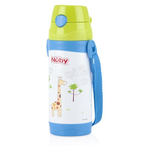 『121婦嬰用品』Nuby不鏽鋼真空真空背帶水壺-長頸鹿(細吸管) 360ml 0