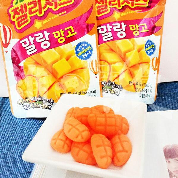 韓國7-11限定樂天芒果軟糖49g包整個就是芒果切開的樣子!連咬下去都是很香的菲律賓芒果味!【特價】§異國精品§
