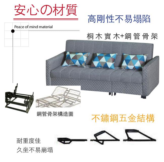 【綠家居】卡麥隆 時尚灰棉麻布多功能沙發/沙發床(拉合式機能設計)