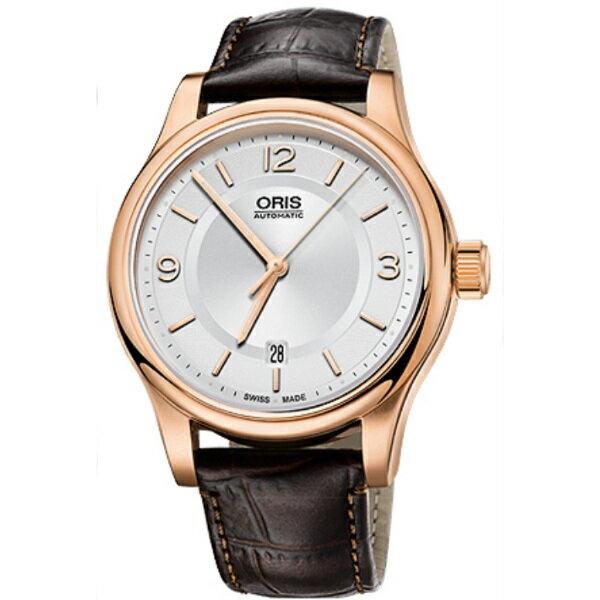 ORIS 豪利時0173375944831-0762012 經典都會玫瑰金機械腕錶/白面42mm