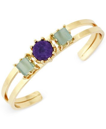 Macys BCBGeneration Gold-Tone Blue and Green Stone Dainty Cuff Bracelet