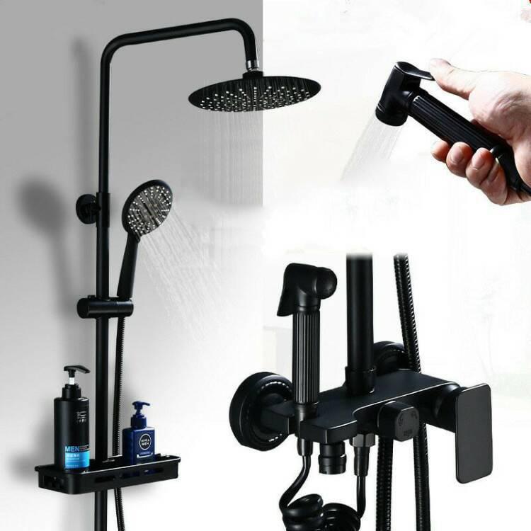 廠家銷售家用全銅黑色 淋浴花灑 增壓淋雨噴頭淋浴器衛浴花灑套裝【艾莎嚴選】