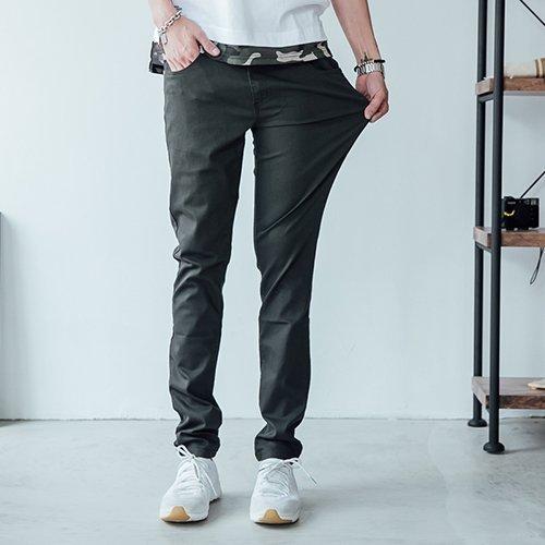 皮標超彈力工作褲【HK4205】OBIYUAN韓版貼身素面休閒褲共7色