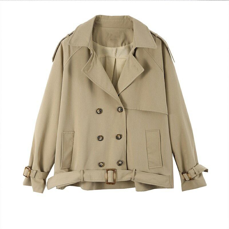 風衣外套短版大衣-寬鬆繫帶休閒雙排扣女外套73yr31【獨家進口】【米蘭精品】