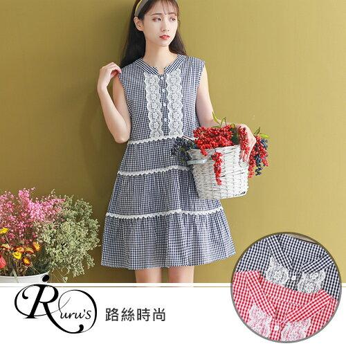 【快速出貨】韓系甜美公主蕾絲無袖格紋洋裝連身裙/2色/SMLXL (RL0094-5278) iRurus 路絲時尚