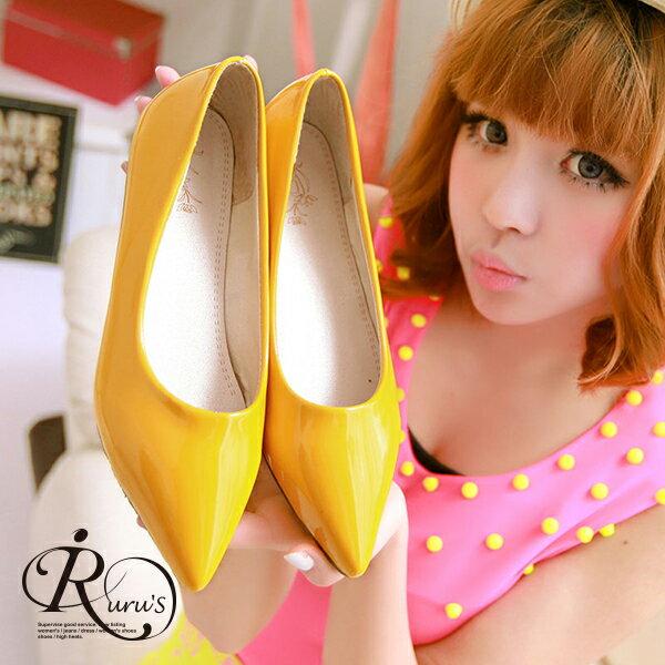 韓系 漆皮亮面尖頭平底包鞋  35~39碼  6色  RX0119~123A