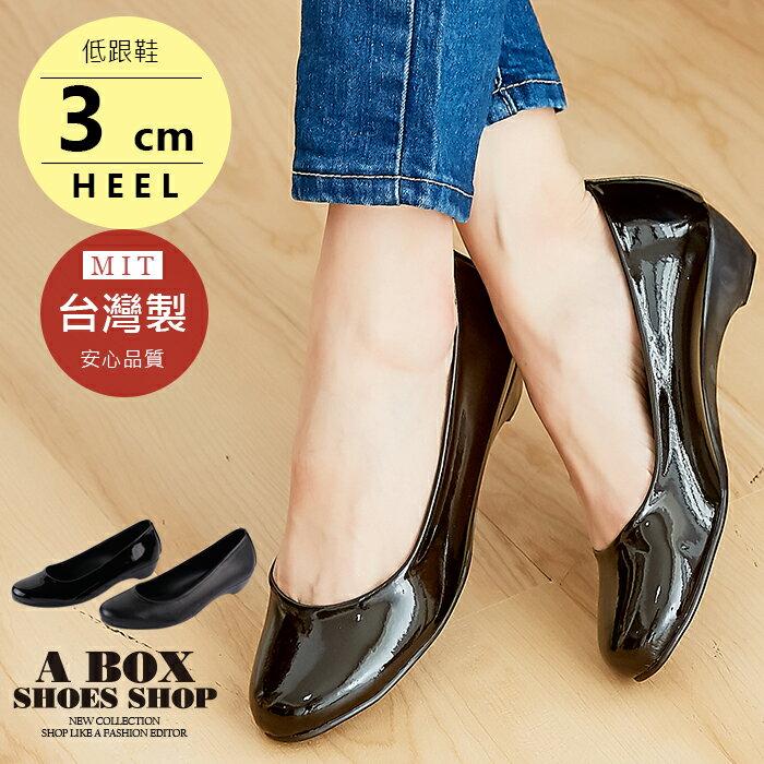 【ADNP518】素面皮革霧面漆皮小坡跟包鞋娃娃鞋 低跟鞋 OL 上班族 台灣製 2色