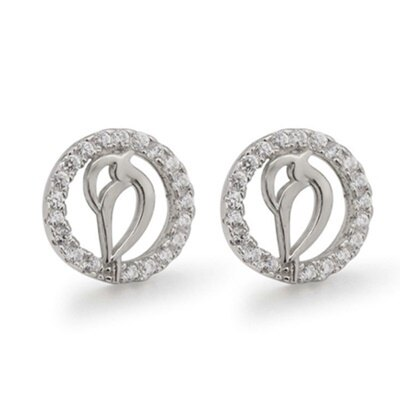 ~925純銀耳環鑲鑽耳飾~精緻小巧鏤空 母親節生日情人節 女飾品73dm240~ ~~米蘭