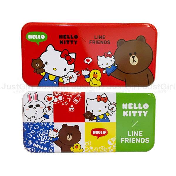 HELLO KITTY LINE 熊大兔兔莎莉 鉛筆盒 收納盒 馬口鐵雙層 文具 正版日本授權 * JustGirl *
