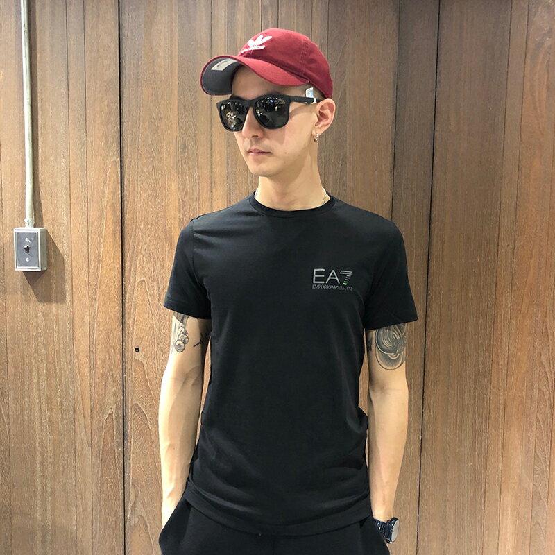 美國百分百【全新真品】Emporio Armani EA7 短袖 T恤 logo 運動 T-shirt 黑色 S號 AT85