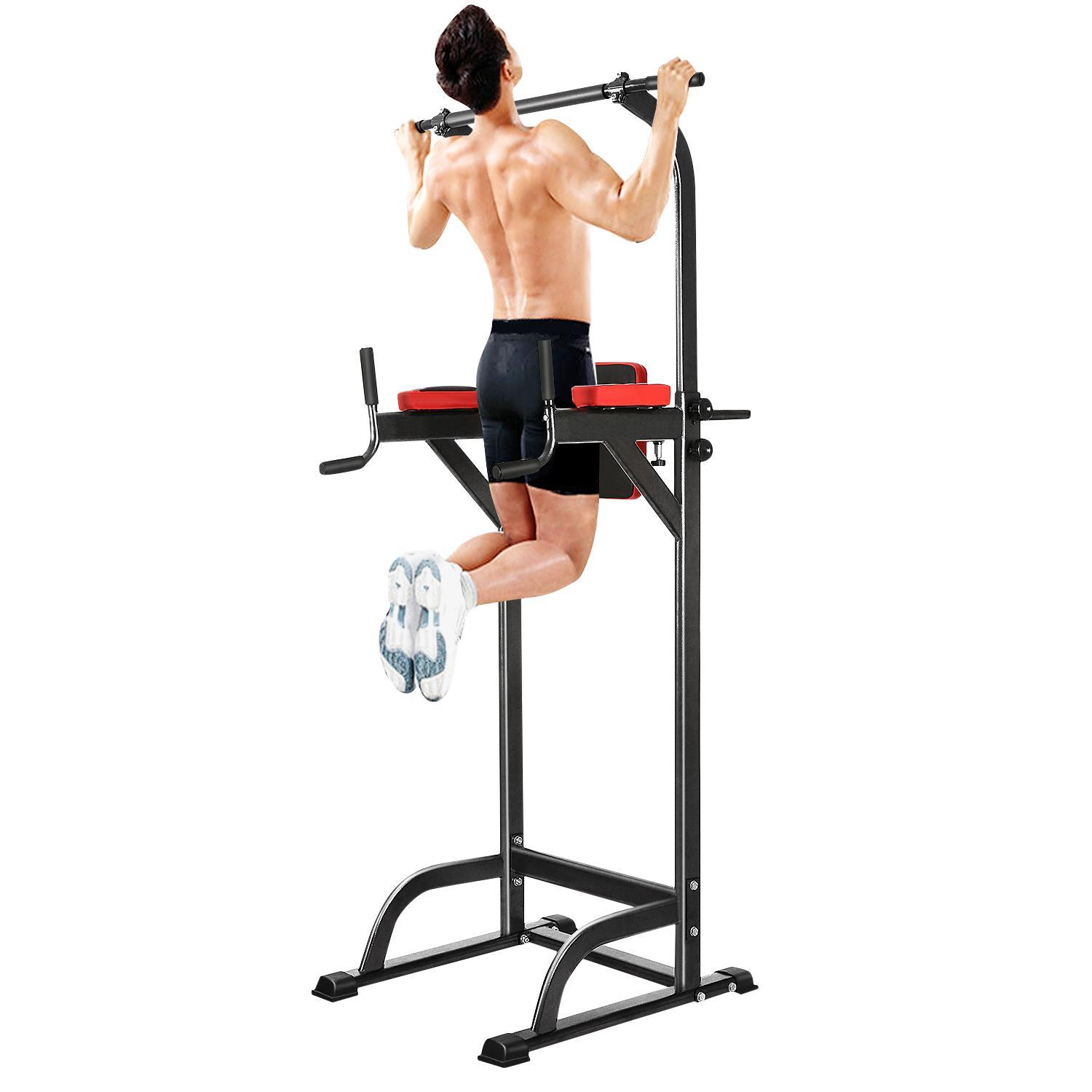 Chin Up Bar Adjustable Abs Workout Knee Crunch Triceps Station Power Tower (black)