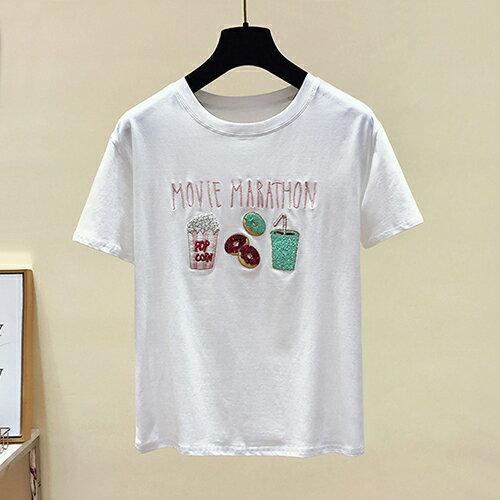 *ORead*韓版短袖圓領大碼亮片刺繡T恤(2色S~XL) 1
