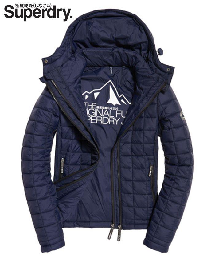 英國代購 極度乾燥 Superdry Hooded Box Quilt Fuji 女士風衣戶外休閒外套 防水防風 保暖外套 深藍
