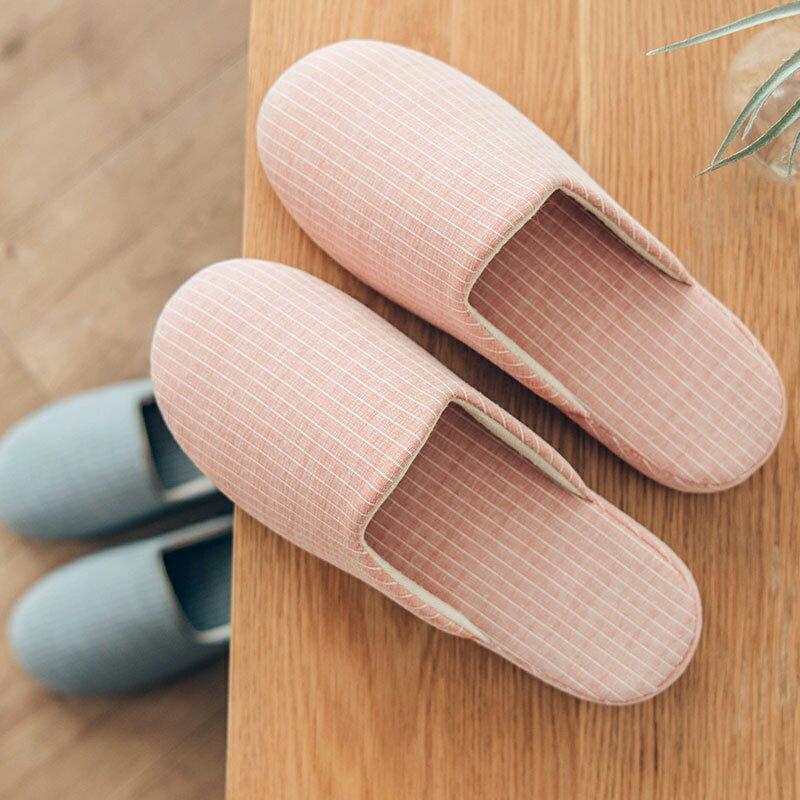 冬季厚底靜音條紋拖鞋