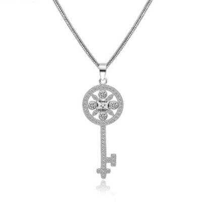 925純銀項鍊 鍍白金鑲鑽吊墜~花樣可愛迷人鑰匙情人節生日 女飾品73ct100~ ~~米