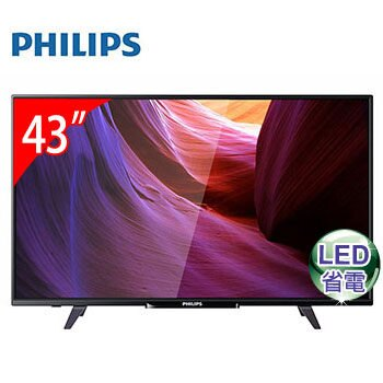 免運費 PHILIPS飛利浦 43型液晶顯示器+視訊盒/液晶電視/電視 43PFH5200