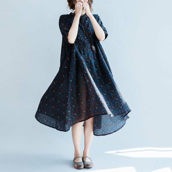 *漂亮小媽咪*前短後長格紋寬鬆舒適薄款透氣柔軟棉麻孕婦裝短袖洋裝D7077
