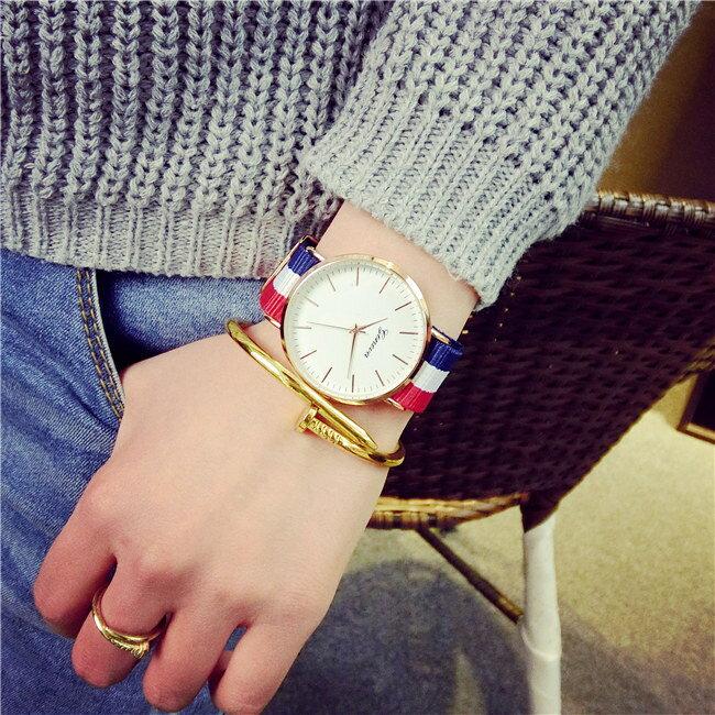 《全店399免運。滿688折88》50%OFF【H014051WAH】英倫潮流韓版簡約帆布手錶歐美復古超薄時尚韓國學生男女情侶腕錶附錶盒