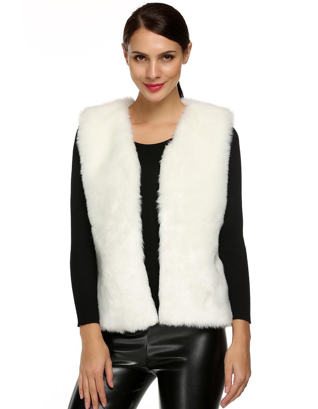 Women Sleeveless Casual Faux Fur Vest Warm Coat 2