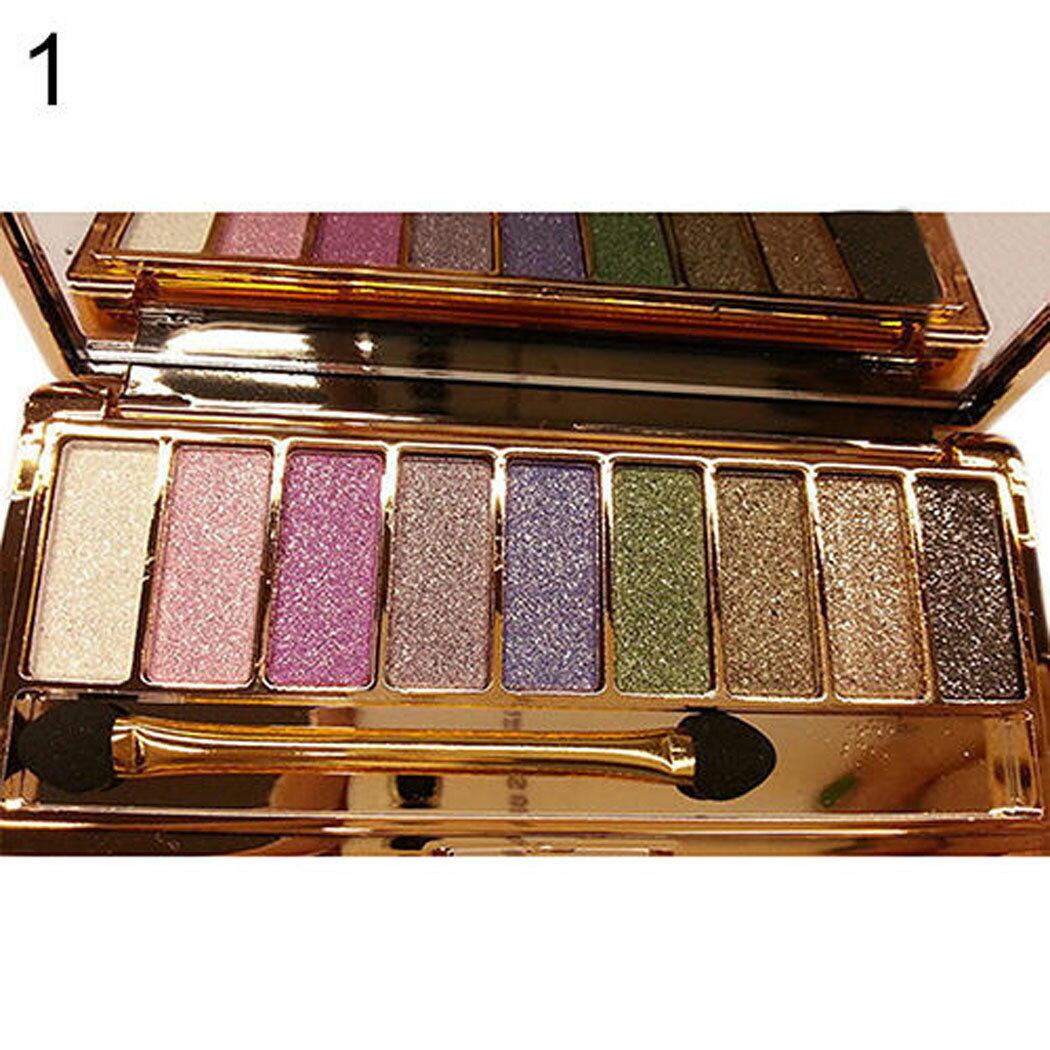 9 colors Waterproof Makeup Glitter Eyeshadow Palette with Brush 2