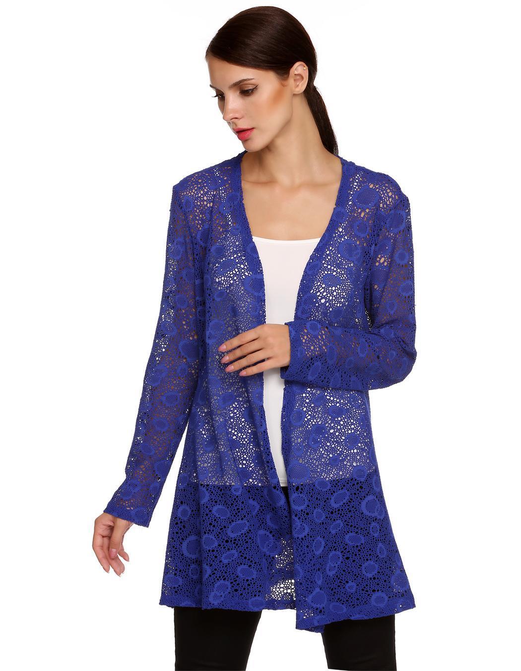 Women Long Sleeve Hollow Out Crochet Long Cardigan Tops 4