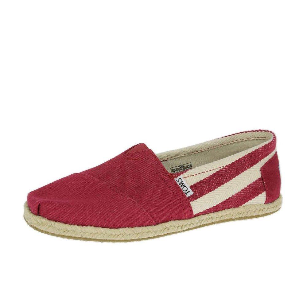 全店點數20倍│【TOMS】紅色寬條紋學院風平底鞋  Red Stripe University Women's Classics 3