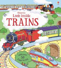 【超取免運】英國 Usborne Look Inside Trains 翻翻書(火車百科)*夏日微風*