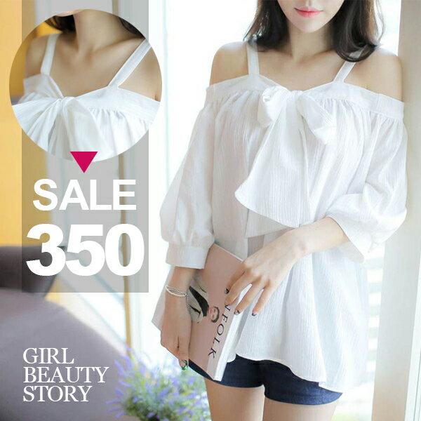 SISI【T7004】甜美個性細肩前綁蝴蝶結露肩一字領寬鬆中袖雪紡襯衫上衣