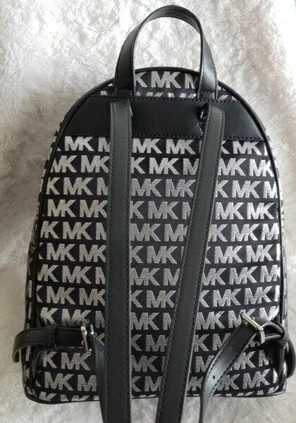 美國Michael Kors黑色 / 銀色MK LOGO刺繡布面設計 後背包 限量款 4
