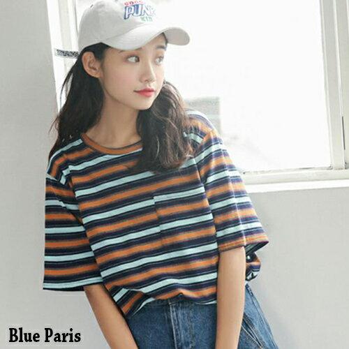 上衣 撞色條紋胸前口袋寬鬆短袖上衣 T恤~28203~~ 2色~ Blue paris