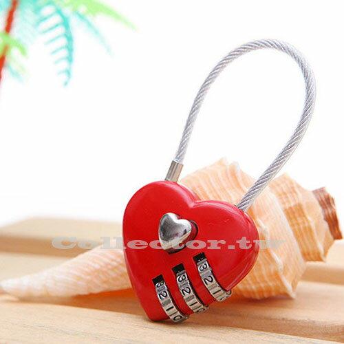 【F16091908】創意萬用愛心密碼鎖 鋼絲線造成鎖 三位密碼鎖 旅行便攜安全鎖