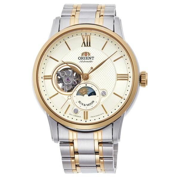 Orient東方錶(RA-AS0001S)SUN&MOON系列半露空日月相機械錶白面42mm