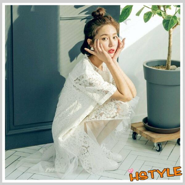 連身裙質感蕾絲印花短袖洋裝GJ7669-創翊韓都