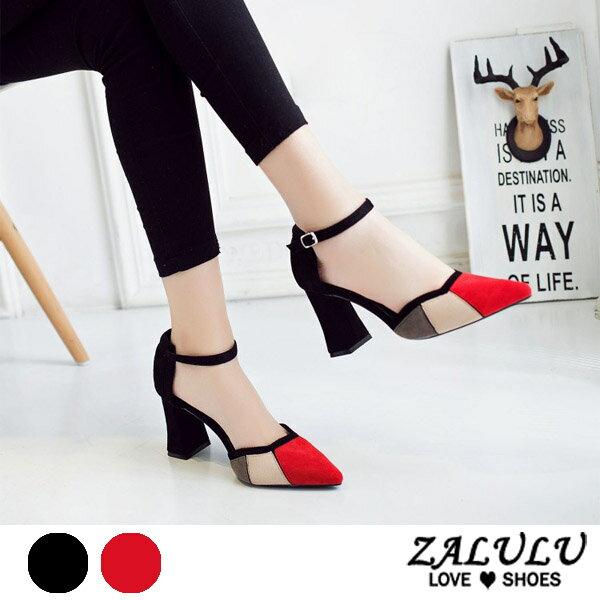 <br/><br/> ZALULU愛鞋館 7CE231預購 摩登俏美人亮色高跟包鞋-黑/紅-35-39<br/><br/>