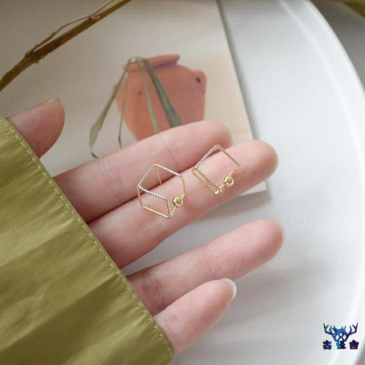 耳環女銀針簡約百搭立方體耳釘個性創意時尚