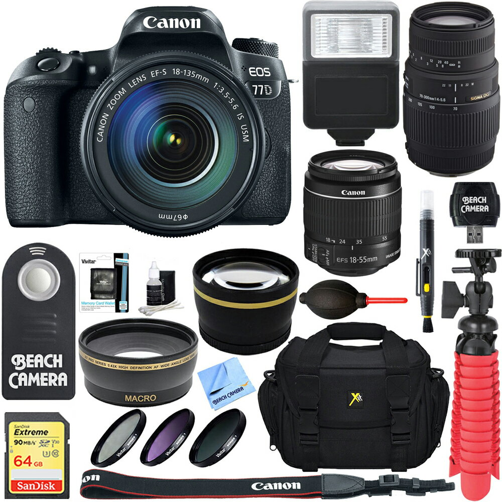 Canon EOS 77D 24.2 MP DSLR Camera + EF-S 18-135mm IS USM & 70-300mm Lens Accessory Kit 1