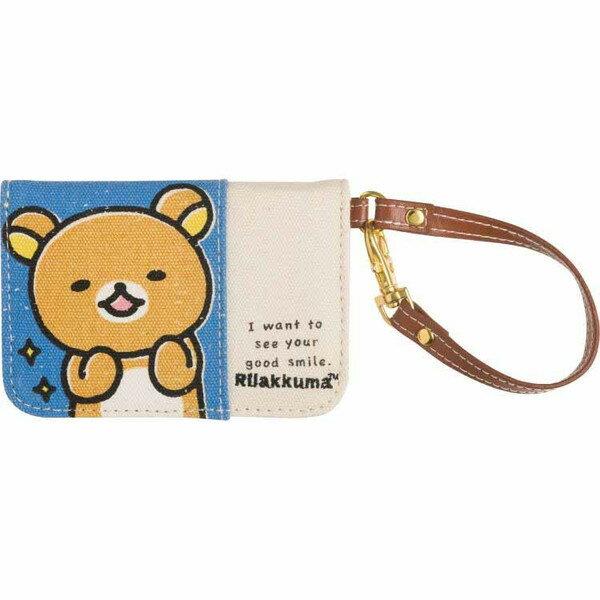 【真愛日本】16082000013帆布證件套-懶熊表情藍SAN-X 懶熊 奶妹 奶熊 證件套 名片套 辦公用品